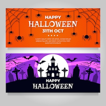 Halloween banners set theme