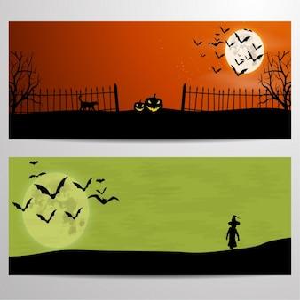 Halloween banners set