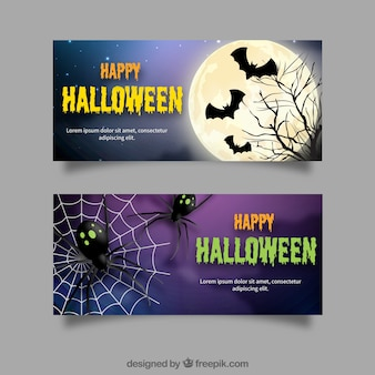 Halloween banners with bats and spiders
