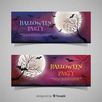 Halloween banners with bats and trees