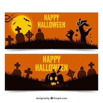 Halloween banners with cemetery