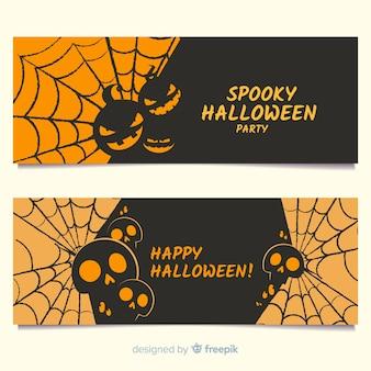 Halloween banners with cobweb