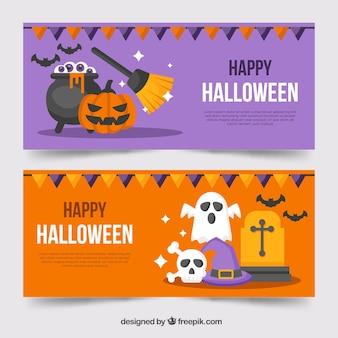 Banner di halloween con elementi colorati