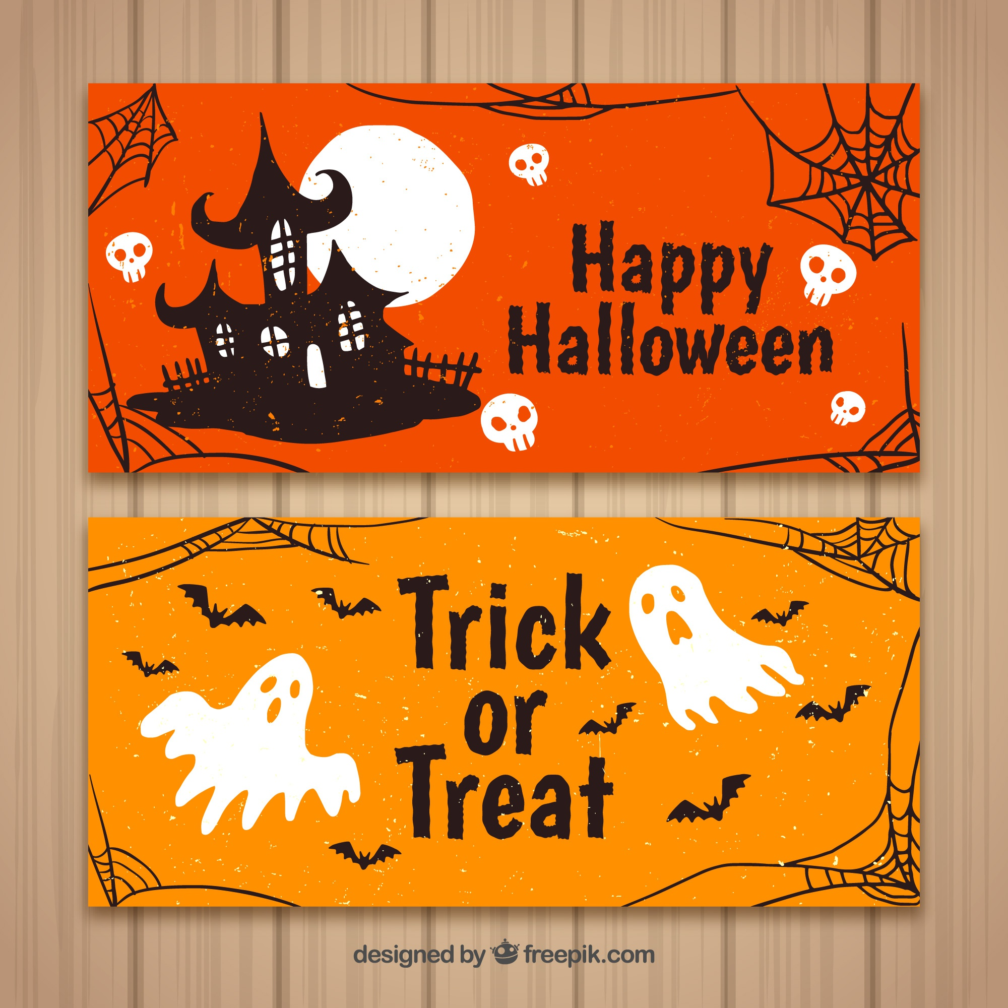 Halloween banners with house and ghosts