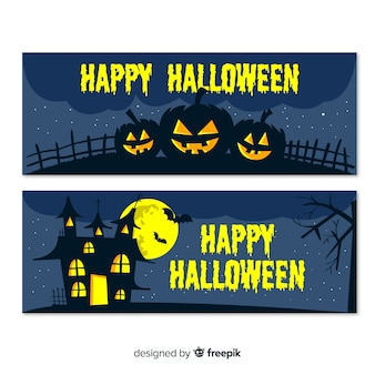 Halloween banners with house and pumpkins