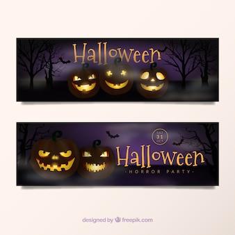 Halloween banners with illuminated pumpkins