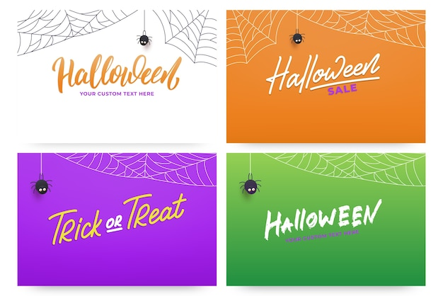 Halloween banners with lettering calligraphy for halloween with spider