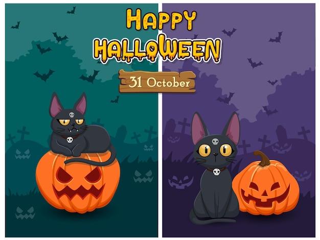 Баннеры хэллоуина с тыквой и кошкой. концепция мультфильм хэллоуин фон в ночном лесу. векторный клипарт иллюстрация