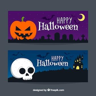 Banner di halloween con zucca e teschio
