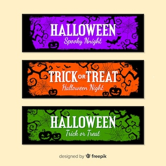 Halloween banners with pumpkins in colours