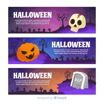 Баннеры на хэллоуин с черепом, тыквой и кладбищем
