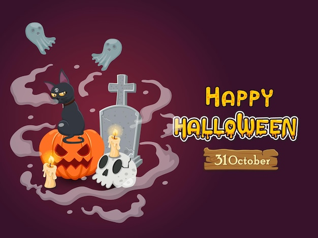 Halloween banners with text and characters. concept cartoon halloween elements. vector clipart illustration on color background