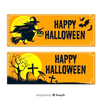 Halloween banners with witch, bats and cemetery