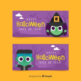 Halloween banners with witch and frankenstein monster