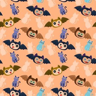 Хэллоуин летучей мыши и кошки бесшовные модели.