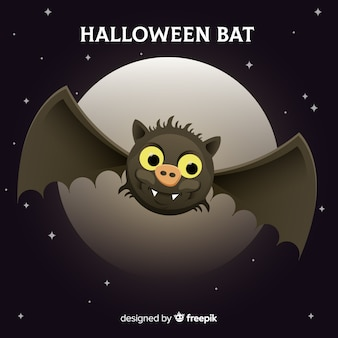 Halloween bat background in flat design
