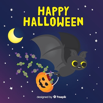 Halloween bat background in flat design
