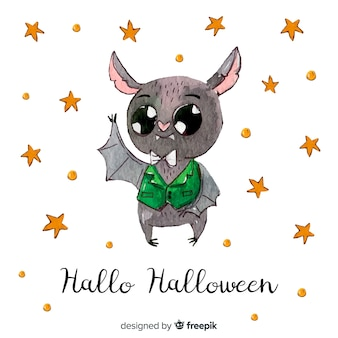 Halloween bat background in hand drawn style