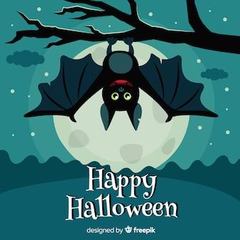 Хэллоуин фоне летучей мыши в плоском дизайне