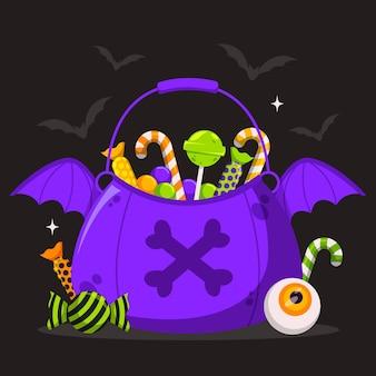 Halloween bat bag flat design