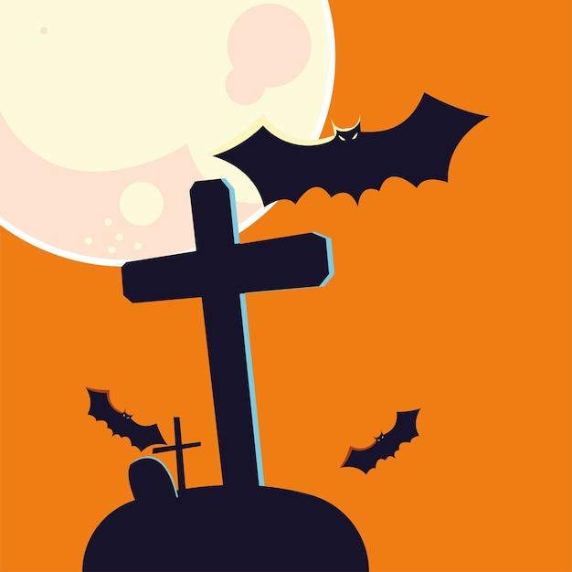Хэллоуин летучая мышь мультфильм и могила перед дизайном луны, праздник и страшная тема