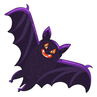 할로윈 박쥐 만화 무서운 휴가 기호 아이콘 흰색 배경에 고립. 날개를 활짝 펴고 날아다니는 으스스한 박쥐 흡혈귀. 벡터 일러스트 레이 션