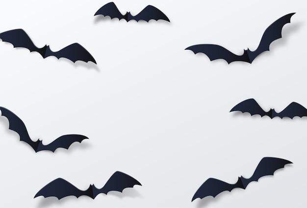 ハロウィーンのコウモリの装飾。ペーパーカットスタイル。