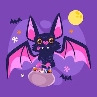 Halloween bat in flat design