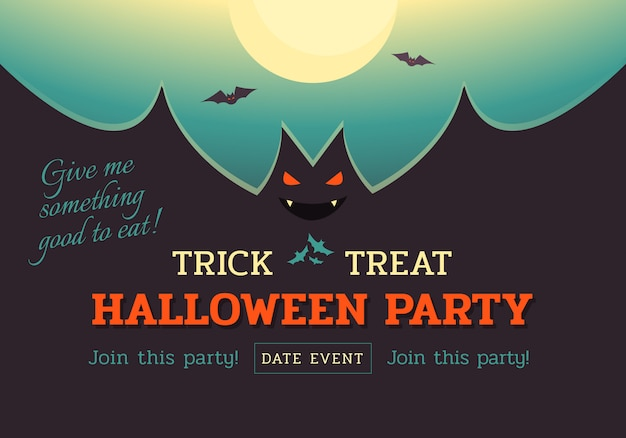 Halloween bat party banner