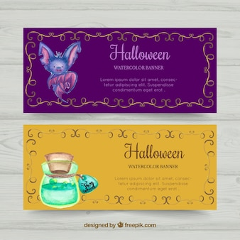Halloween bat and potion banners