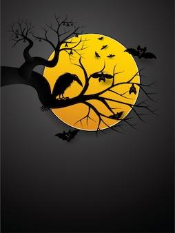 할로윈 박쥐와 보름달 밤에 까마귀.