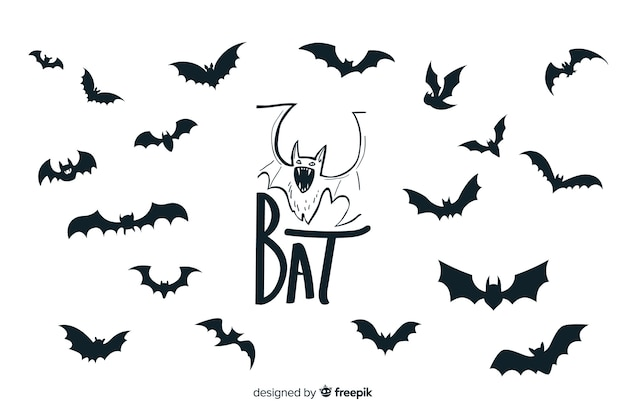 Halloween bats silhouette collection
