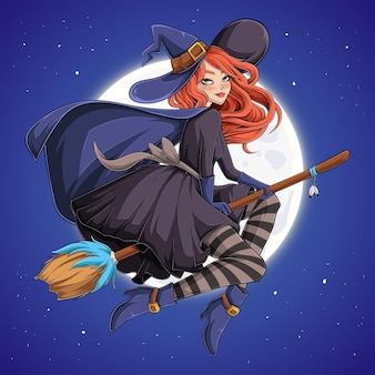 Halloween beautiful witch redhead woman with hat on flying broom in night sky over full moon