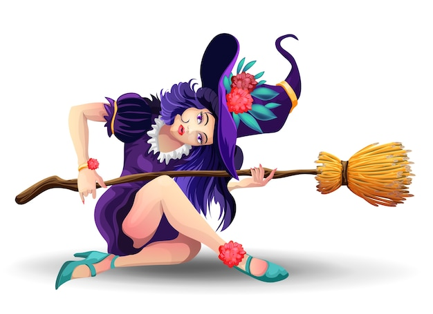 Halloween beautiful witch with broom sitiing on the floor.