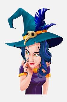 Ведьма хеллоуина красивая с зеленой шляпой. коллекция фонов хэллоуина. мультипликационный персонаж на белом фоне.