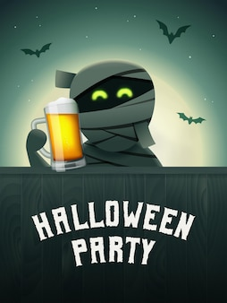 Halloween beer poster mummy with beer mug in hand scary background with moon and flying bats