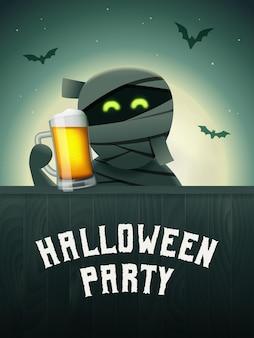 할로윈 맥주 포스터 손에 맥주 잔을 들고 미라 달과 날아다니는 박쥐가 있는 무서운 배경