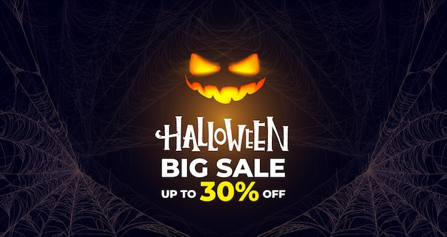 Halloween big sale banner. glowing pumpkin. premium .