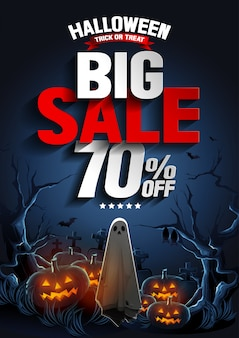 Halloween big sale banner with ghost floating in the air and pumpkins at the night.
