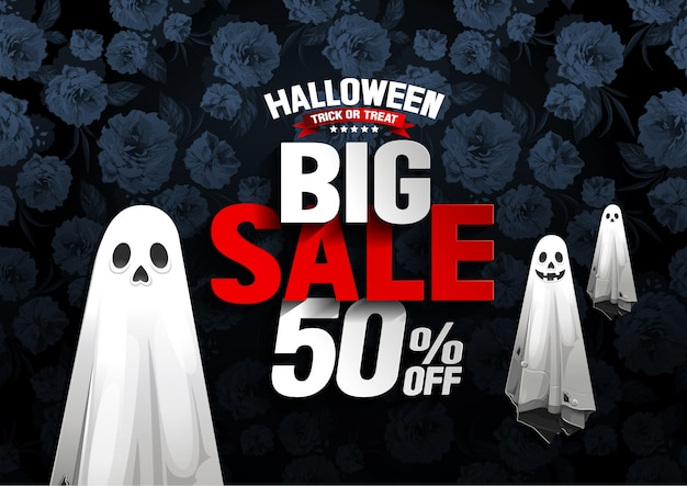 Halloween big sale banner with ghost on flower background