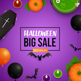Halloween big sale lettering with pumpkins and cauldron