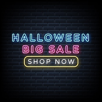 Halloween big sale neon sign, light banner, announcement neon signboard.