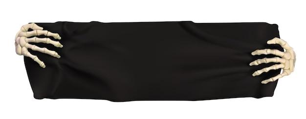 Halloween black banner. 3d vector cartoon object
