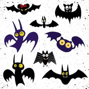 Halloween black bat icon set.