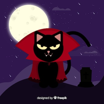 Halloween black cat in dracula costume in flat design