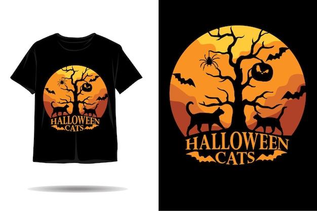 ハロウィン黒猫シルエットtシャツデザイン