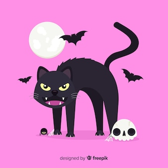 Halloween black cat with moon on pink background