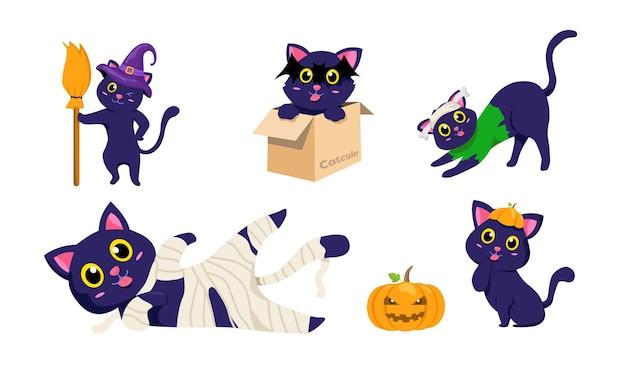 ハロウィーンの黒い子猫の漫画。不気味な猫とカボチャのデザインのセット。かわいい動物のベクトル図です。