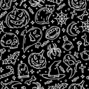 Halloween black seamless pattern with magic icons in doodle style
