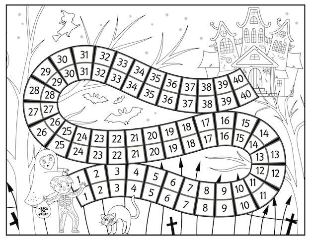 Halloween black and white board game for children with spooky castle and cute children. educational boardgame with haunted house. scary printable coloring page.